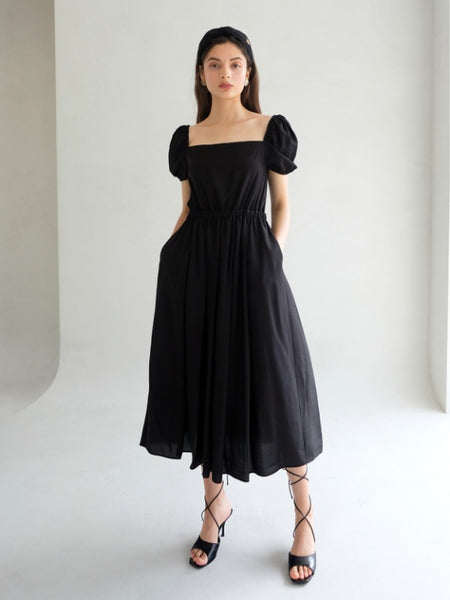 LYDIA PUFF MIDI DRESS_BLACK