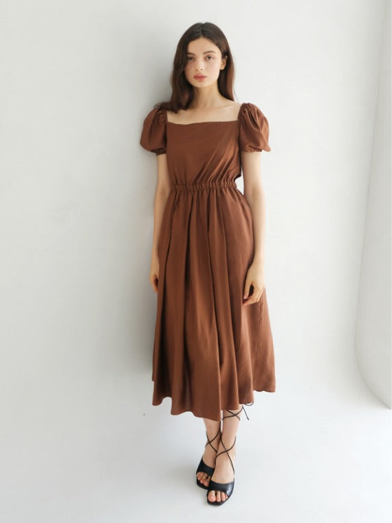 LYDIA PUFF MIDI DRESS_BROWN