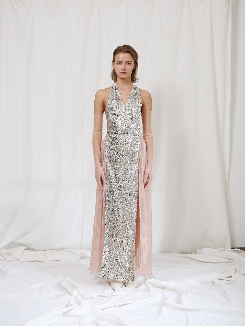ARIEL HALTER SEQUINED MAXI DRESS