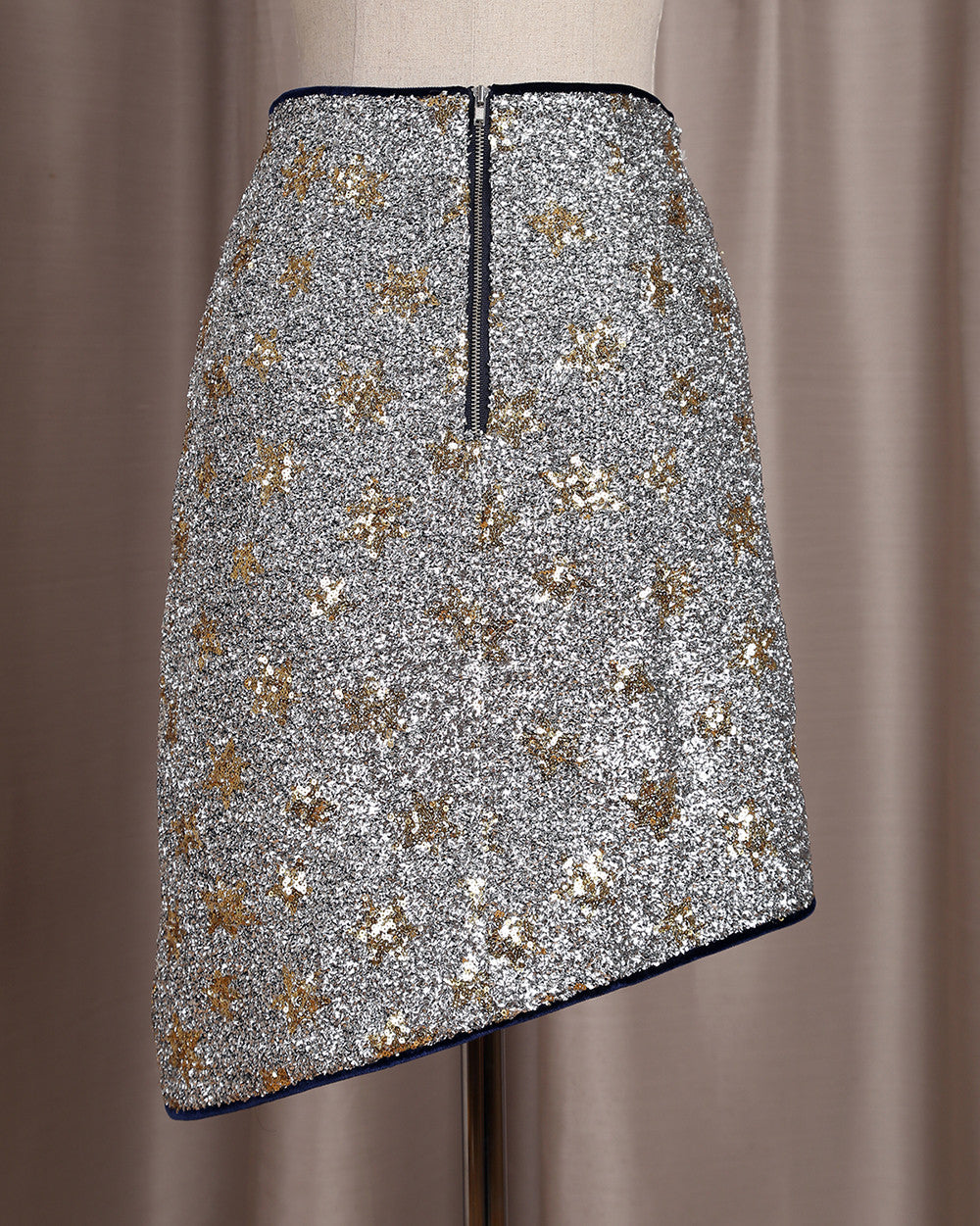 ASH asymmetrical silver star skirt