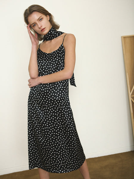 DOTTY SILK POLKADOT SLIP DRESS