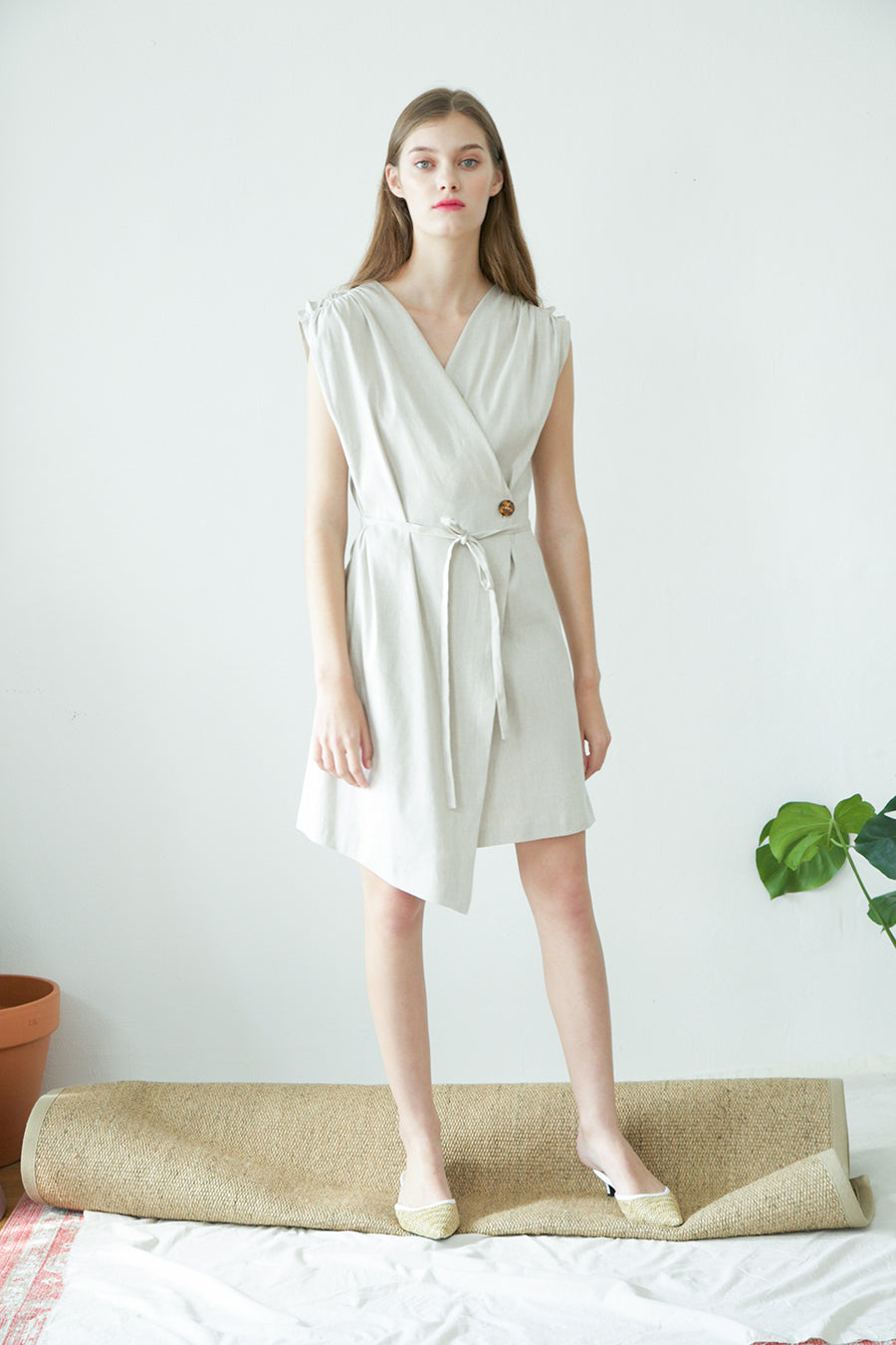 [SELF-LOVE] HAILEY WRAP LINEN DRESS