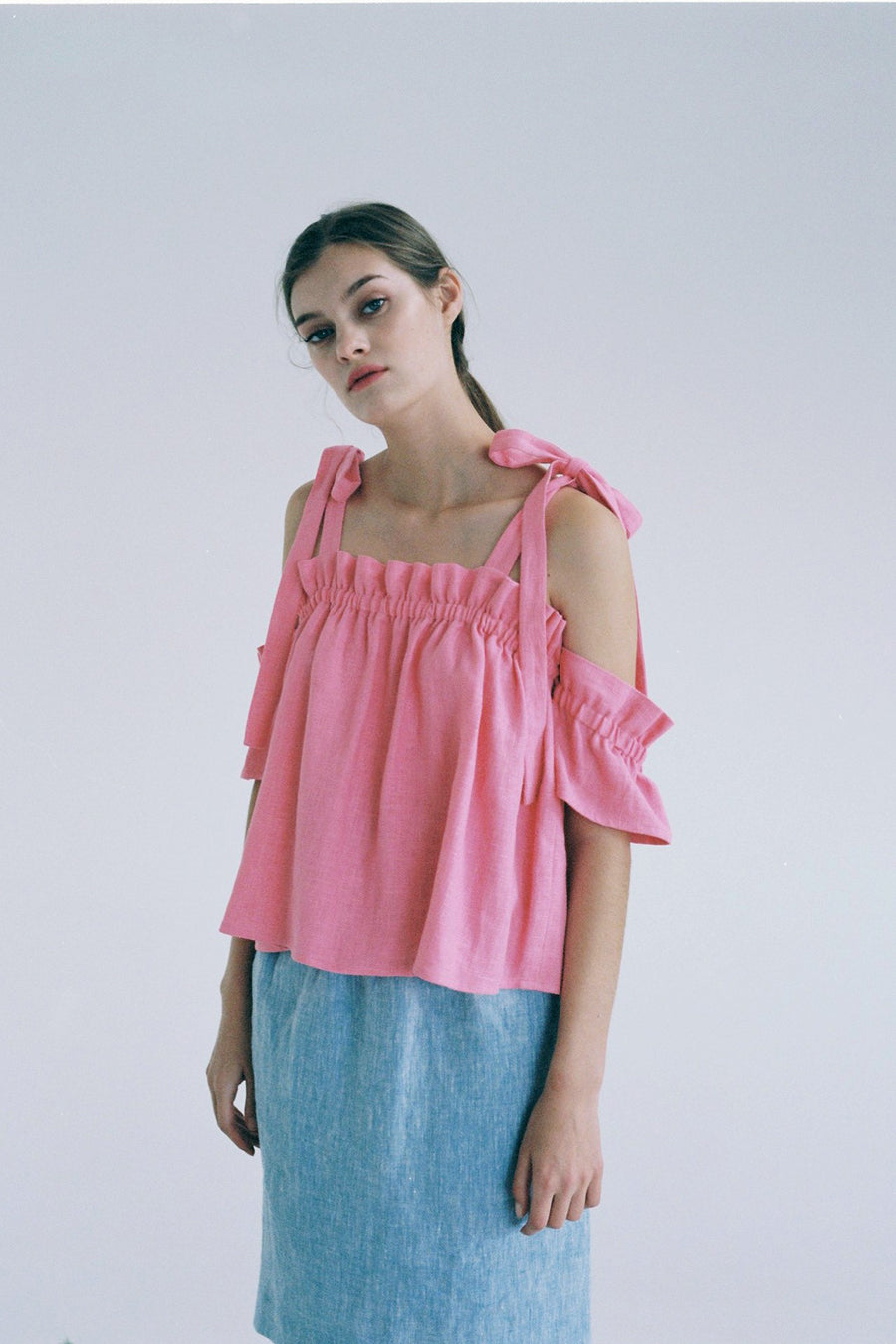 [SELF-LOVE] IVY RUFFLED BOW TOP_PINK