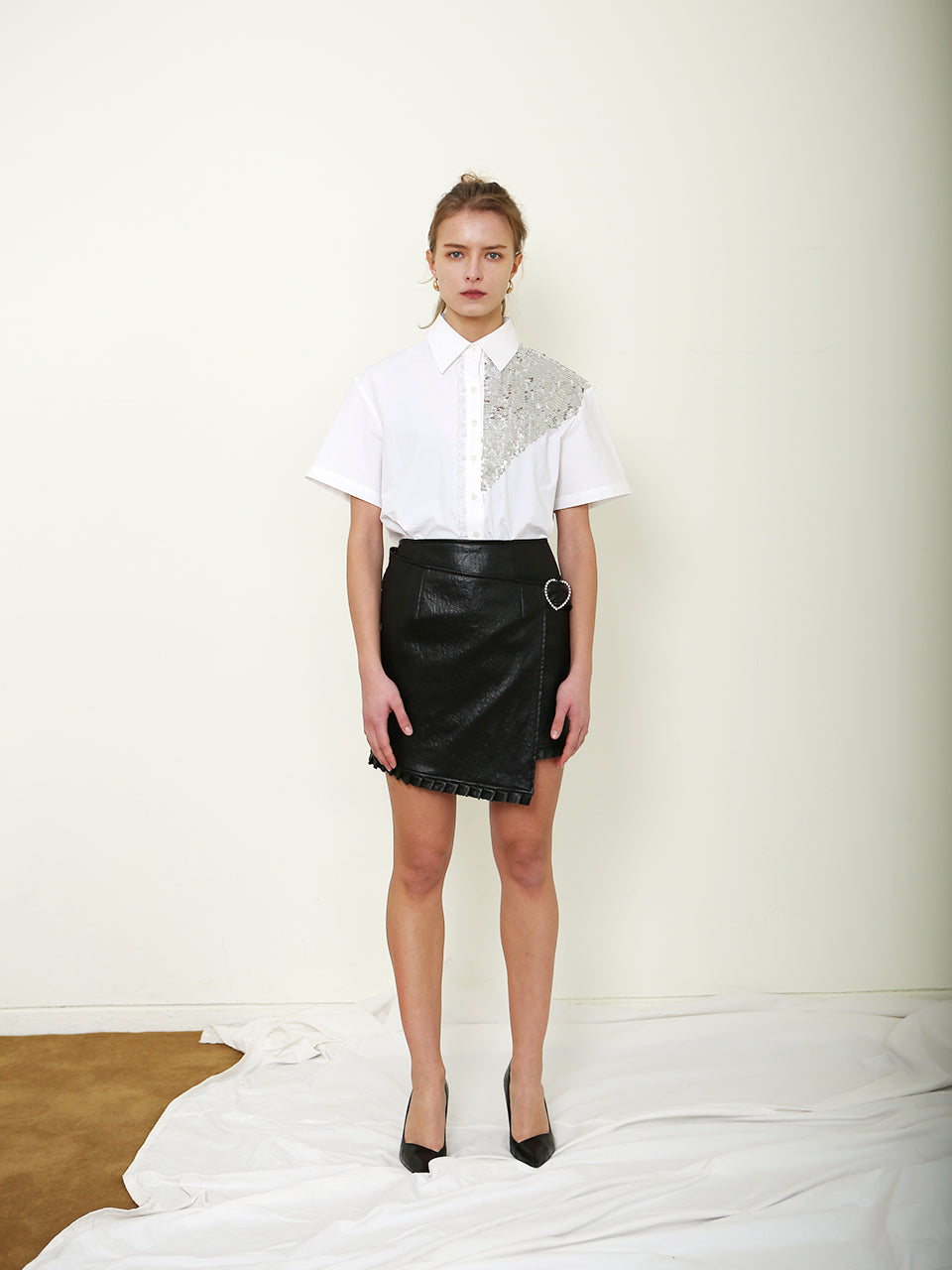ROMY LEATHER WRAP SKIRT_BLACK