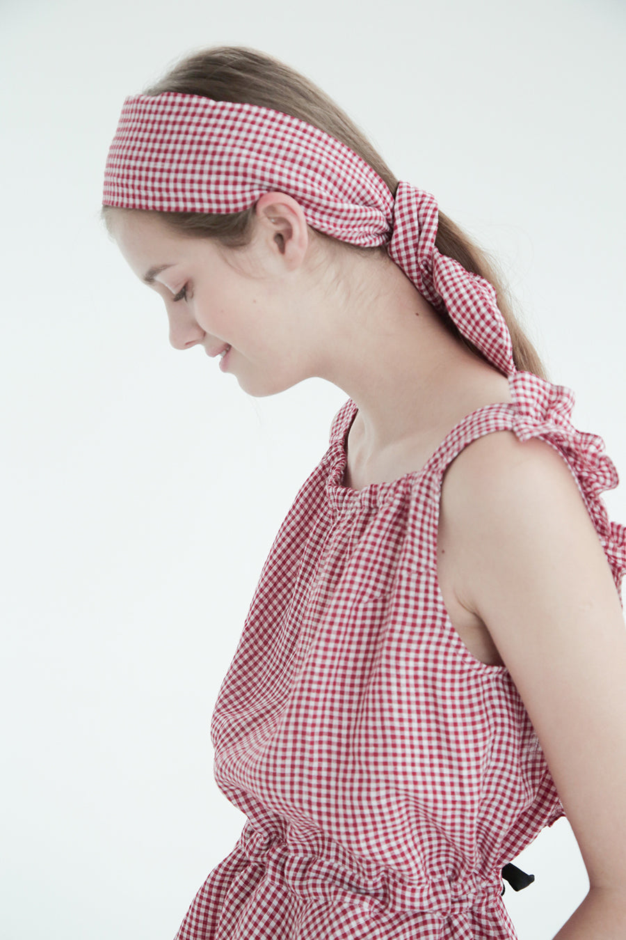 [SELF-LOVE] JUNE GINGHAM LINEN BACKLESS TOP_RED