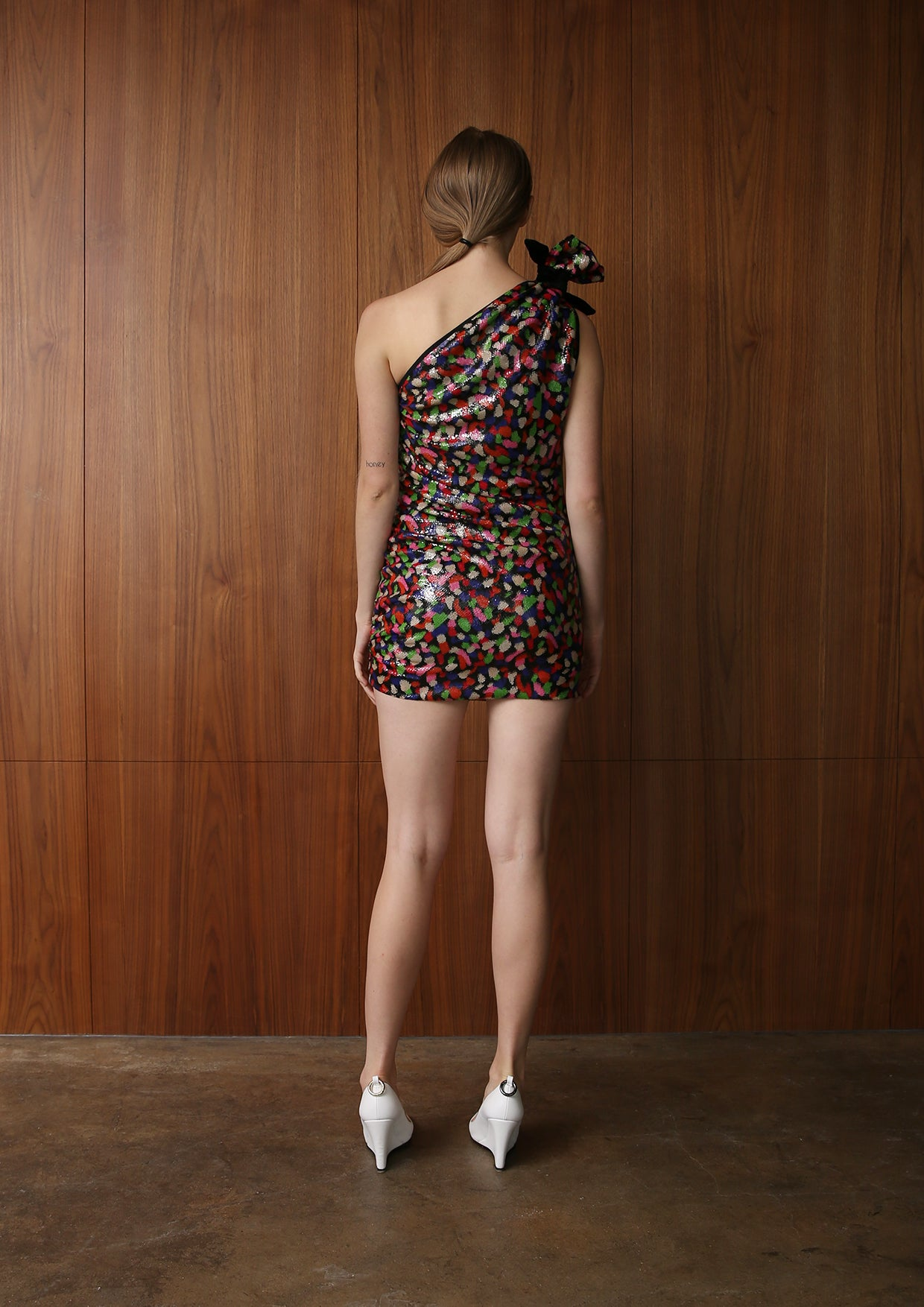 JOYCE SEQUINED ONE SHOULDER MINI DRESS