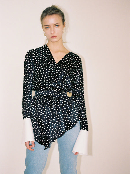 NORA POLKA DOT SILK WRAP BLOUSE