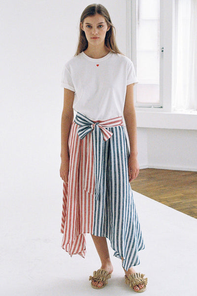 [SELF-LOVE] PEONY TWO-TONED STRIPE LINEN SKIRT_RED
