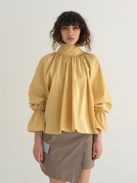 MAGGIE SHIRRED BLOUSE_YELLOW