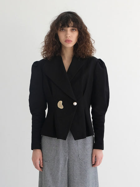 ADELINE UNBALACED COLLAR JACKET BLACK