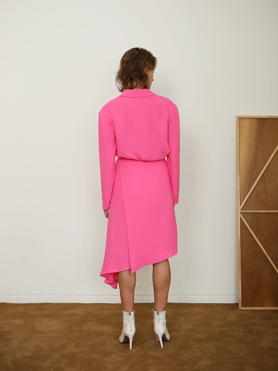 PARIS ONE BUTTON JACKET_NEON PINK