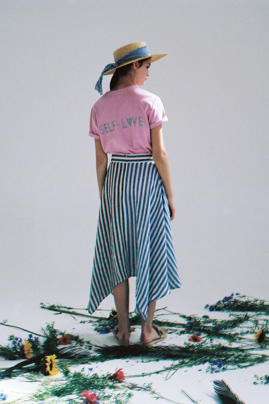 [SELF-LOVE] PEONY TWO-TONED STRIPE LINEN SKIRT_BLUE
