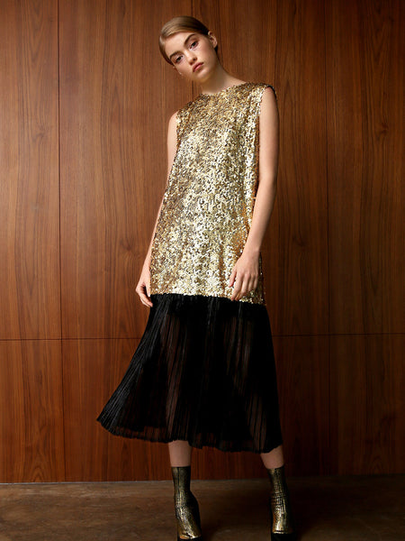 ANGIE SEQUINED BACK BOW MIDI DRESS