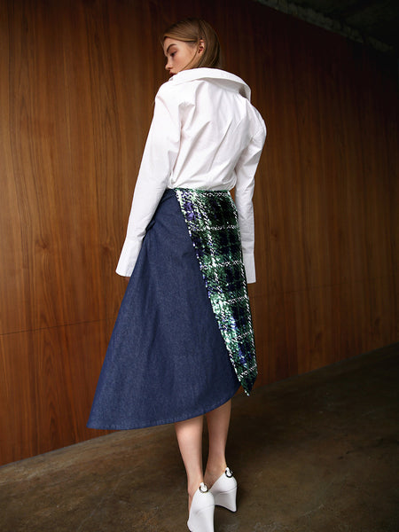 S.Y. PLAID SEQUINS & DENIM WRAP SKIRT