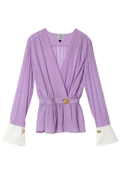 WOORI SILK WRAP BLOUSE_PURPLE