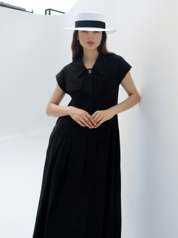 HEATHER SHIRT MAXI DRESS_BLACK