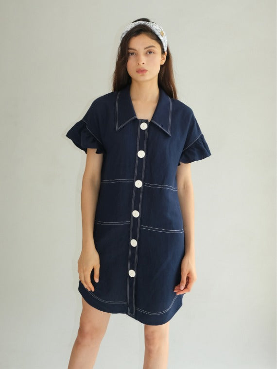 JENNY FRILLED TUNIC DRESS_NAVY
