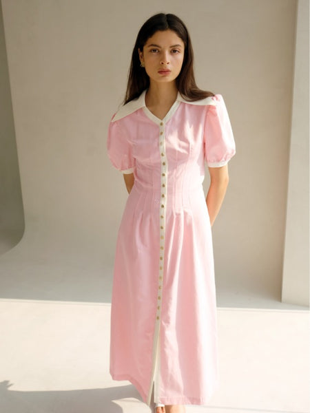 ERIN COLLAR MIDI DRESS_PINK
