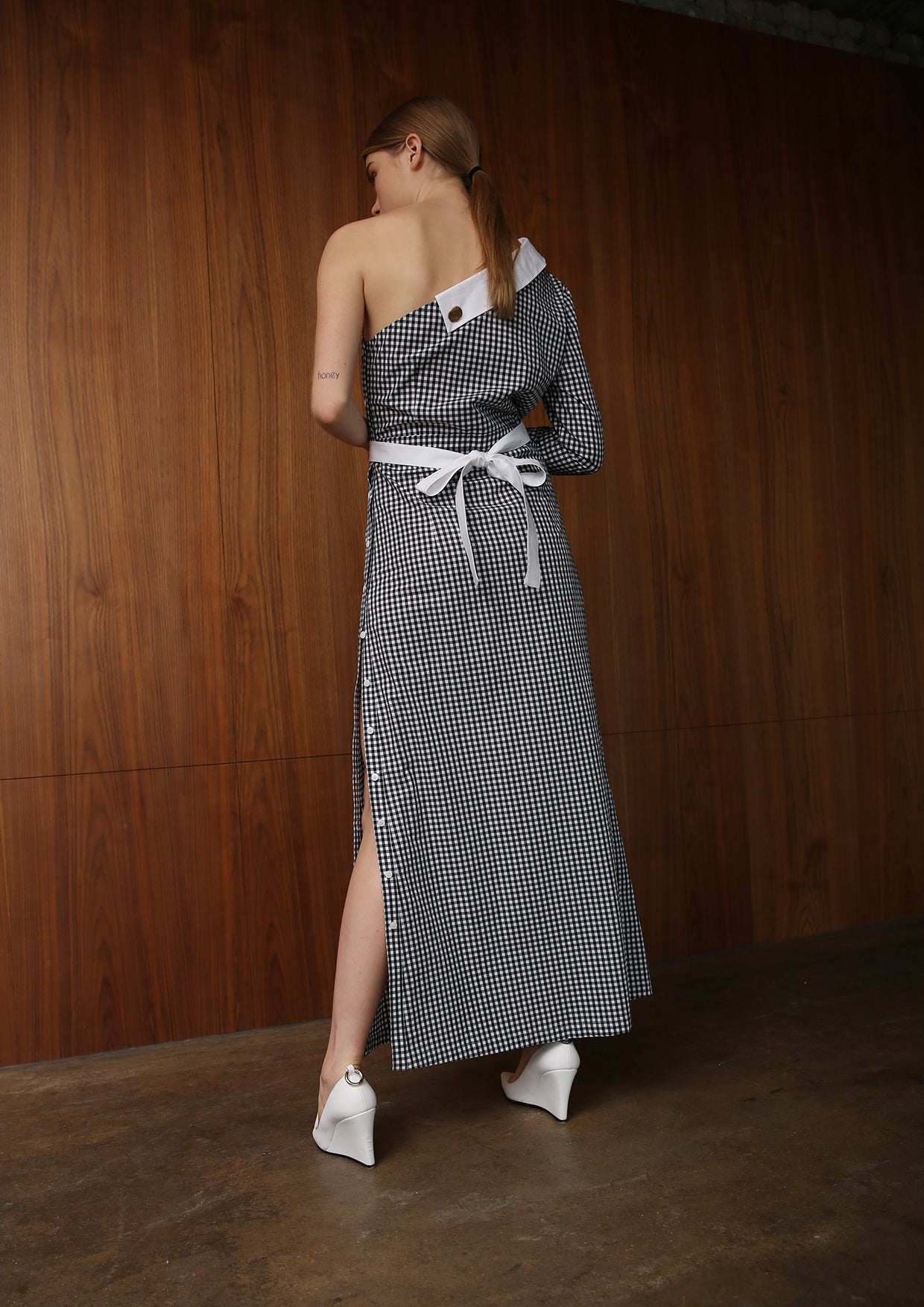 JOO ONE SHOULDER GINGHAM SHIRT DRESS