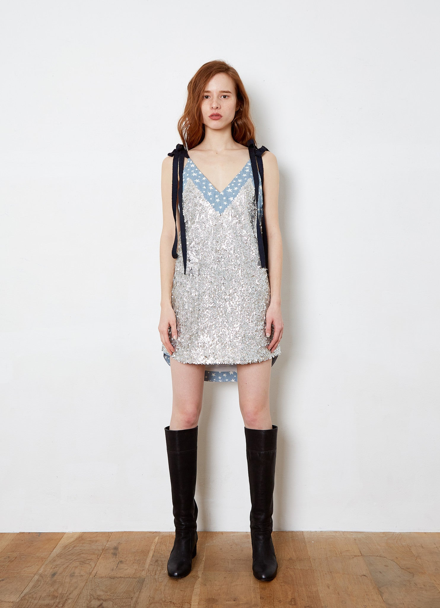 THEASHLYNN. AIMEE double tie knot star two layer mini sequins dress