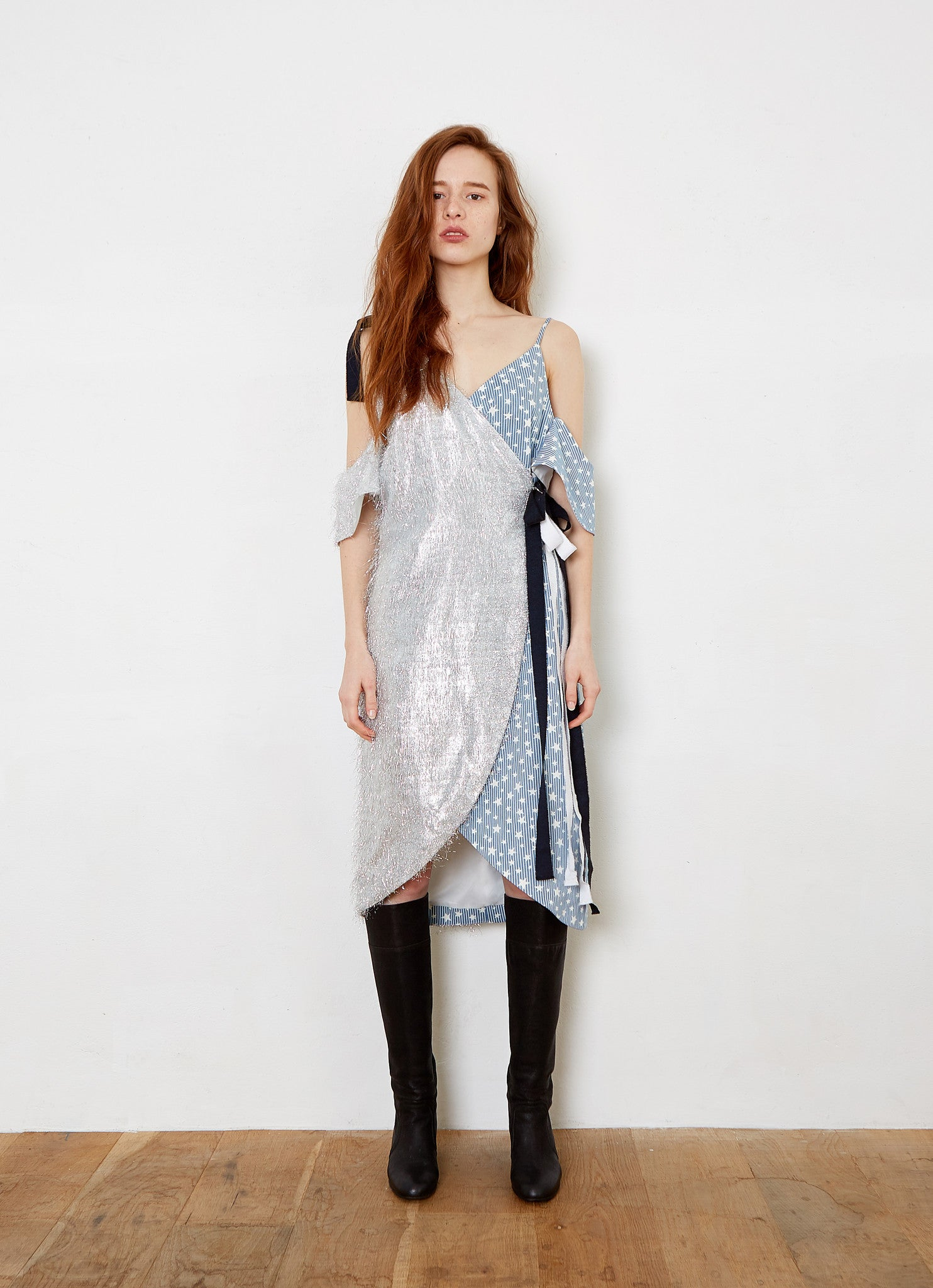 THEASHLYNN. AMANDA silver fringes & star denim dress. sequins.
