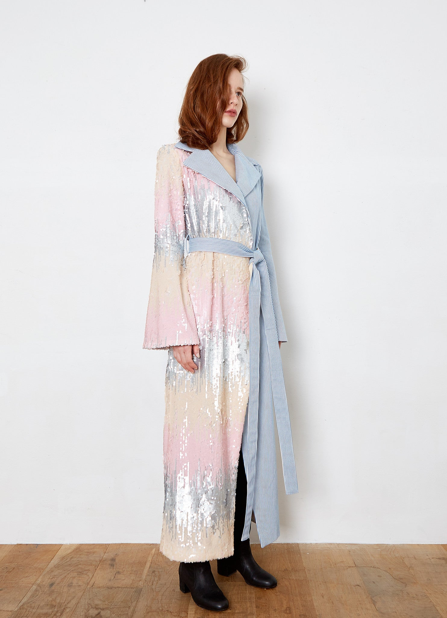 THEASHLYNN. SARAH stripe denim & sequins long dress coat