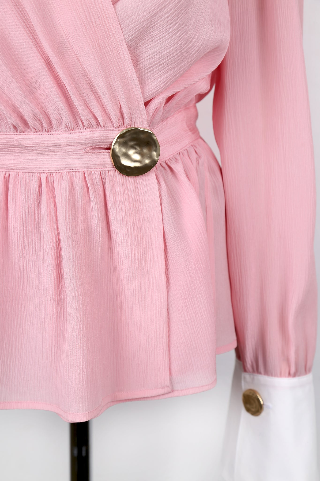 WOORI SILK WRAP BLOUSE_PINK