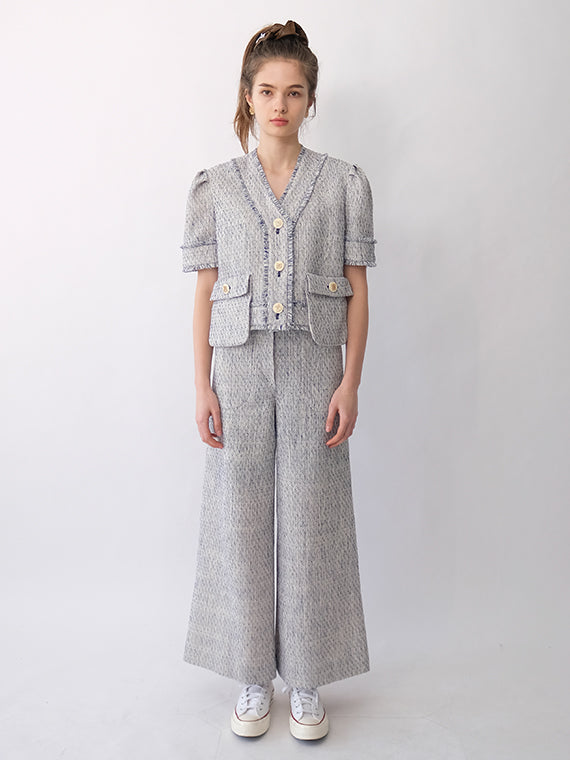 BROOKS TWEED WIDE PANTS_BLUE