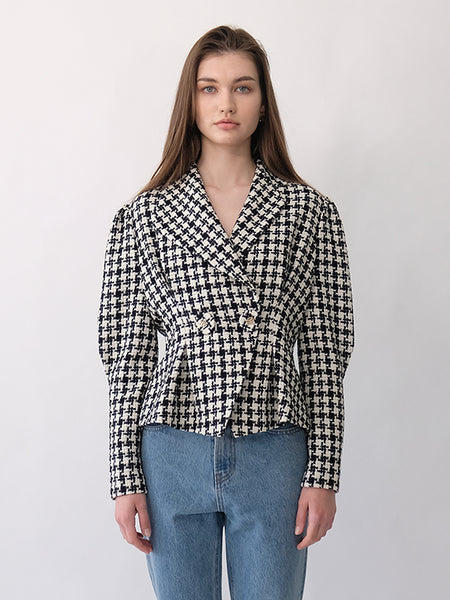 REBECCA TWEED UNBALANCED COLLAR JACKET