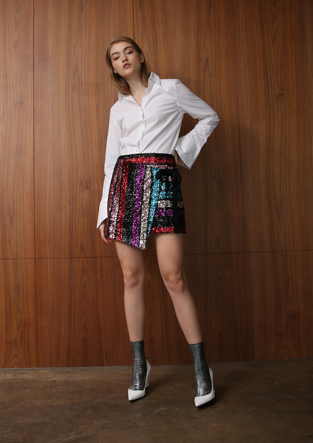 TRACY SEQUINED WRAP MINI SKIRT