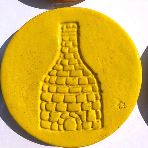 Bottle kiln coasters - Yellow - Black Star Ceramics