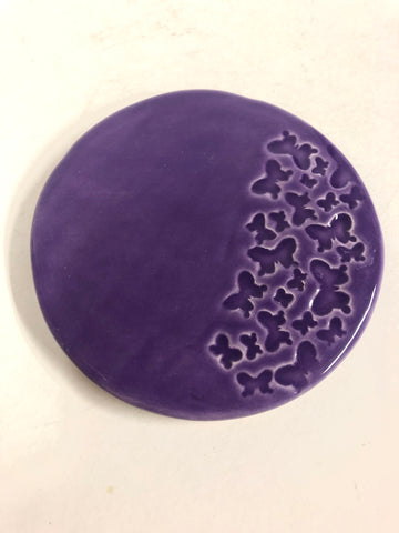 Small Butterflies coasters - Purple - Black Star Ceramics