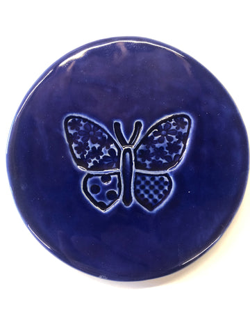 Big Butterfly coasters - Dark Blue - Black Star Ceramics