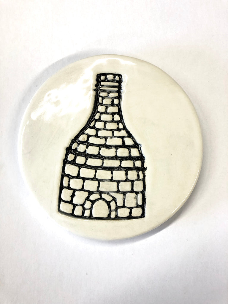 Bottle kiln coasters - Black and White - Black Star Ceramics