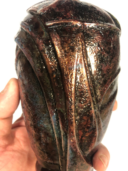 Copper with hints of blue Raku 1920's style small vase