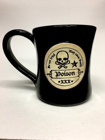 Large Hand thrown POISON mug ☠️