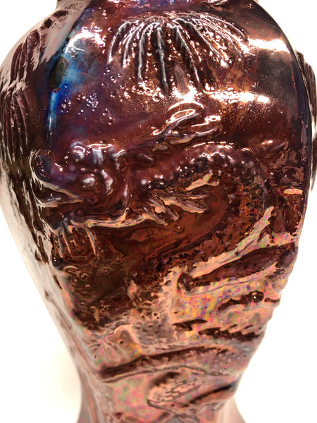 Copper & metallic purple Raku Dragon Vase