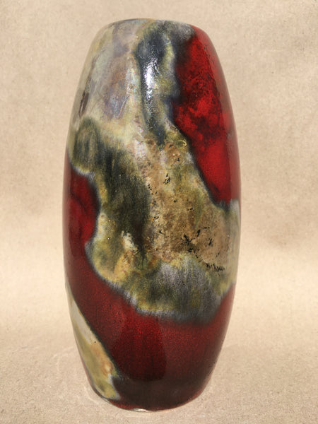 Crimson in clover Raku vase