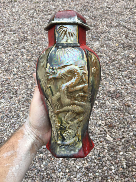 Crimson in Clover Raku Dragon Vase