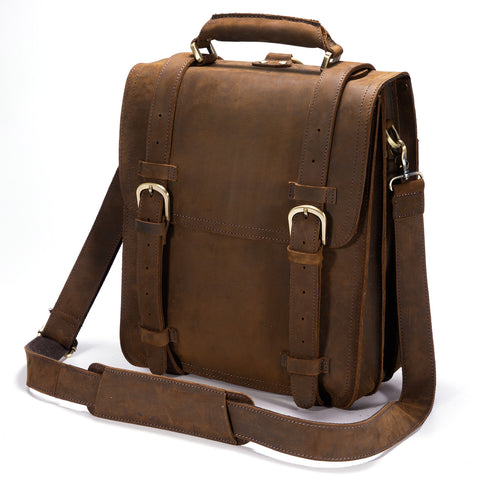 "Kattee Genuine Leather 14"" Laptop Briefcase Backpack Messenger Bag Handbag"