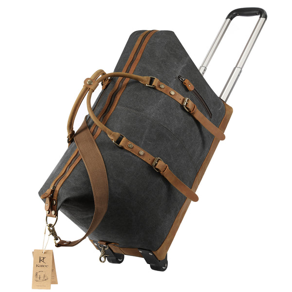 Kattee Luggage Rolling Duffel Bag Leather Trim Canvas Travel Bag