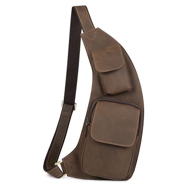 Kattee Genuine Cow Leather Cross Chest Shoulder Sling Bag