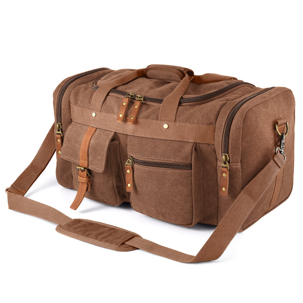 Plambag Oversized Canvas Duffel Bag Overnight Travel Tote Weekend Bag