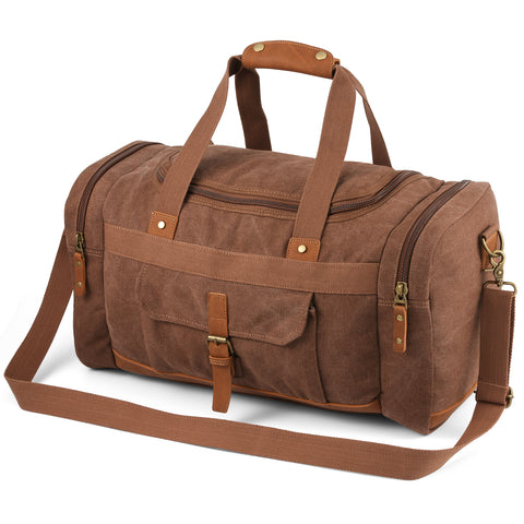 Plambag Canvas Duffle Bag, 50L Large Travel Duffel for Overnight Weekend Luggage