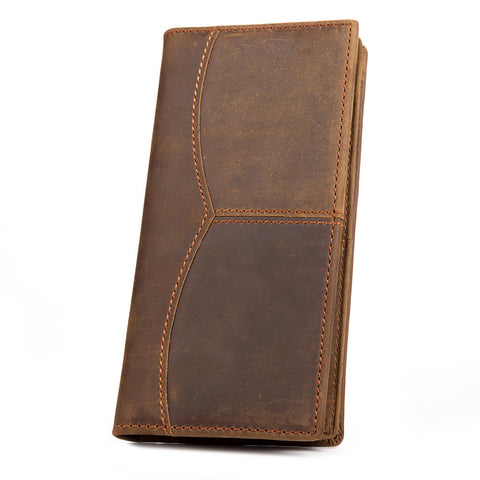 Kattee Retro Crazy Horse Genuine Leather Long Bifold Wallet