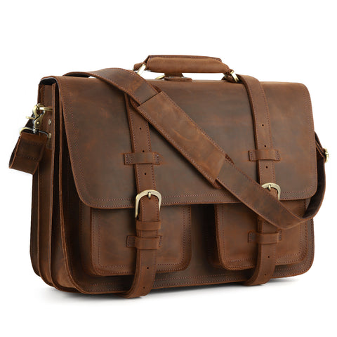 "Kattee Real Leather 16"" Laptop Briefcase Messenger Backpack"
