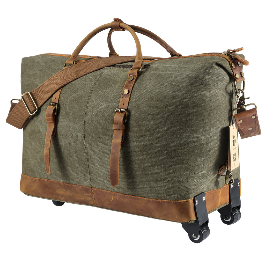 94733c61c5 ... Kattee Luggage Rolling Duffel Bag Leather Trim Canvas Travel Bag ...