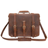 "Kattee Crazy Horse Leather Men's Huge Backpack Shoulder Handbag Fit 17"" Laptop (Large, Dark Brown)"