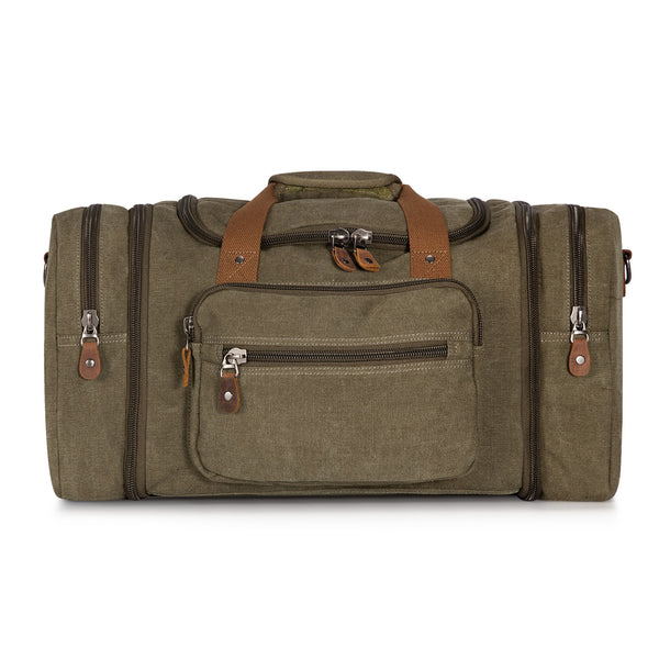 Plambag Unisex's Canvas Travel Tote Luggage Bag Oversized Weekend Duffel Bag
