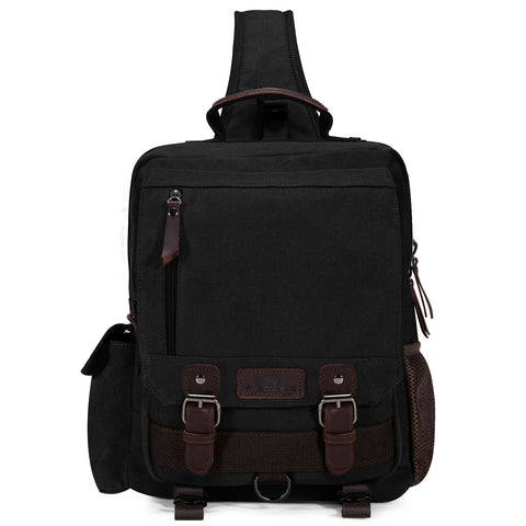 Plambag Canvas Sling Backpack One Strap Travel Sport Crossbody Bag